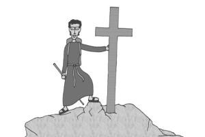 Pater Martin beim Bergsteigen. (Ein Comic von Georg Attenender)